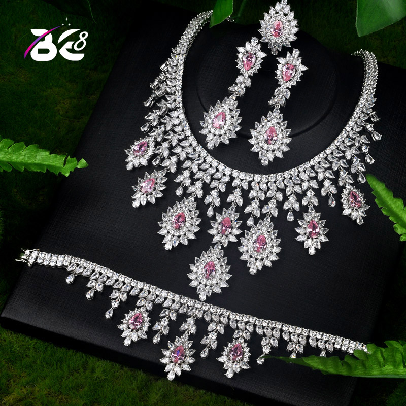 Be 8 Brilliant crystal AAA CZ Queen Women Jewelrt Sets Bridal Fashion Jewelry Wedding Party Necklace