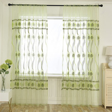 Leaves Sheer Curtain Tulle Window Treatment Voile Drape Valance 1 Panel Fabric window door curtain valance drape panel sheer tulle window screening tulle curtain for living room valance tulle sheer curtain