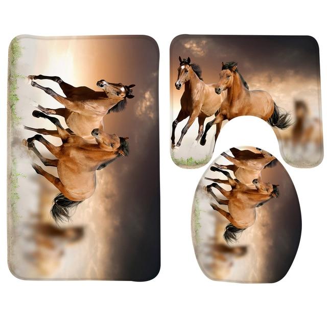 3 stks Badkamer Mat Set Running Paarden Patroon Badmat Antislip ...