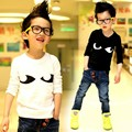 2016 Newest Spring Autumn Boy's black and white long-sleeved T-shirt Children's Eyes Cotton T-shirt A099
