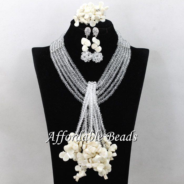 White Beads African Set Splendid Dubai Gold Jewelry Set Handmade Items Wholesale Free Shipping ABS129