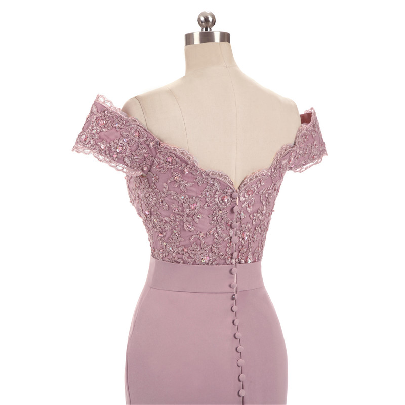 Dresses Beaded Appliques Mermaid-Bridesmaid Vestido-De-Festa Pink Vintage Party-Gowns