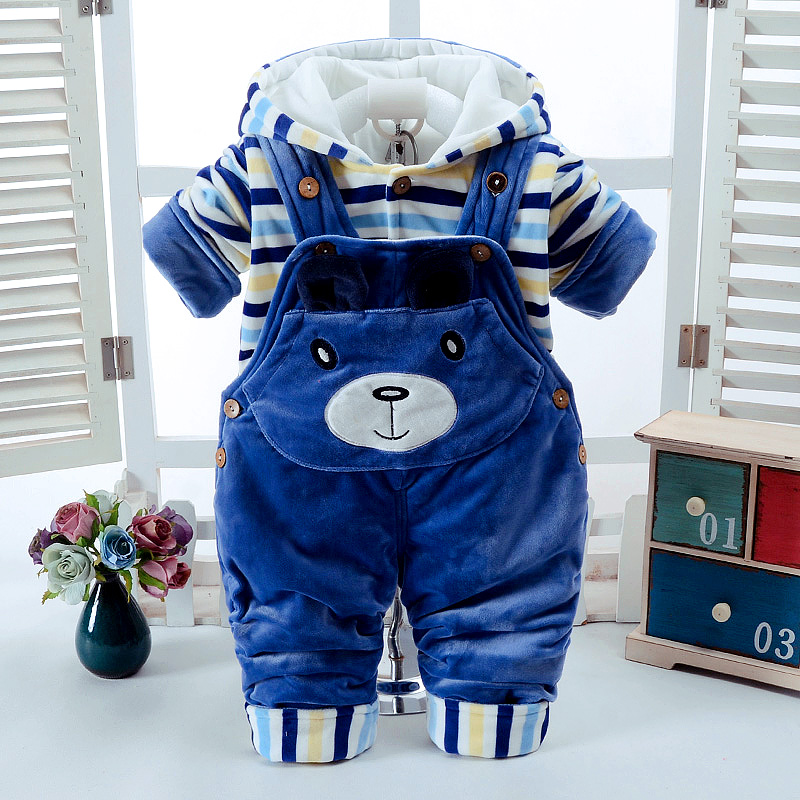 Autumn Winter Cartoon Thicken Long Sleeve+Suspender Trousers 0-2T Baby Infant Boy And Girl 2 Pieces Overalls Children's Clothes цена 2017