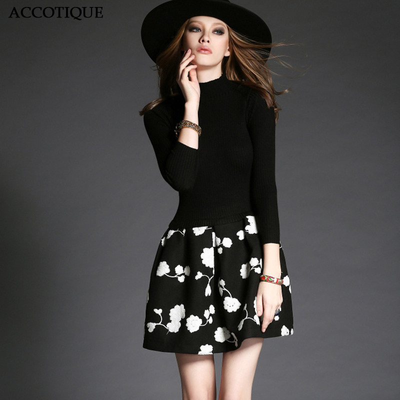 High Quality Female Autumn Winter Slim Elegant Black Short Dress Women Knitting Fashion Flower Print Patchwork