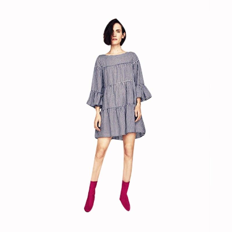 Women Oversized Pleated Plaid Dress Summer Elegant Checkered Flare Sleeve Loose Casual Sweet Dresses
