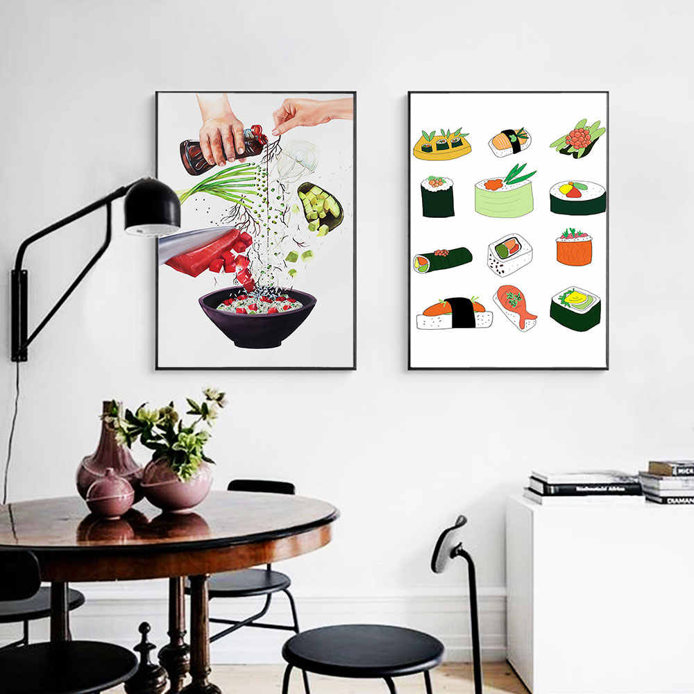 Sushi Food Scandinavian Poster Nordic Print Noodle Image Wall Art Canvas Painting For Kitchen Room Decor Black Metal Framed Painting Calligraphy Aliexpress