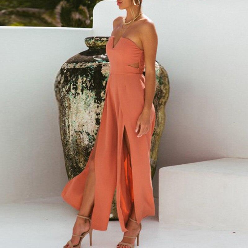 Summer Solid Color Off Shoulder Backless Jumpsuit Black Pink Large Horn Playsuits Elegant Split V Neck Long Loose Overalls in Jumpsuits from Women 39 s Clothing
