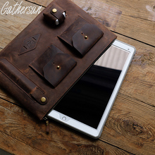 Gathersun Grazy Horse Real Leather Case Sleeve Bag for IPad Pro 12.9 inch iPad Pro Leather Case,Men file package Envelope Bag