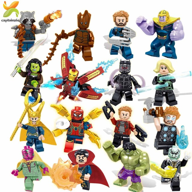 Супергерой Marvel Мстители Бесконечность войны строительные блоки Халк танос Капитан Америка Фигурки Кирпичи игрушки для детей