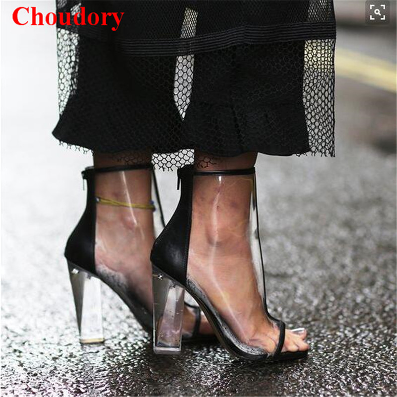 Summer Sexy Kim Kardashian Style Gladiator Clear Sandals Ankle Boots Chunky High Heels Back Zip Pointed Toe Pumps Women Shoes fashion kardashian ankle elastic sock boots chunky high heels stretch women autumn sexy booties pointed toe women pumps botas