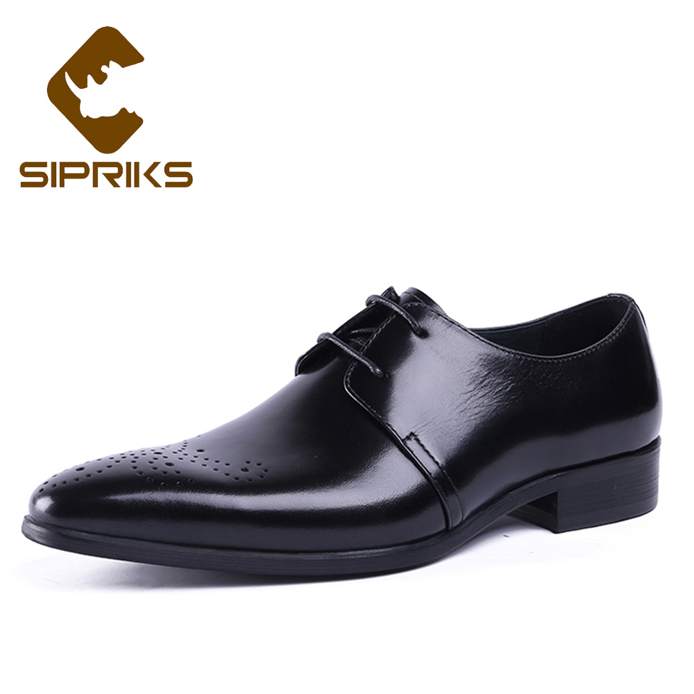 Sipriks Men Dress Shoes Genuine Cow Leather Italian Style Classic Formal Business Wedding Shoes Black Lace Up Pointed Toe Oxford 2017 men s cow leather shoes patent leather dress office wedding party shoes basic style pointed toe lace up eu38 44 size