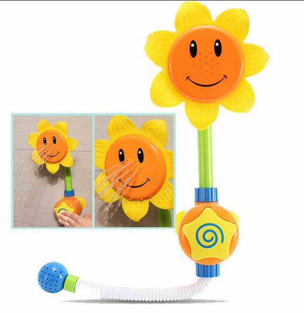 Do bebê do Divertimento Brinquedos de Banho Crianças Girassol Chuveiro Torneira do Banho de Aprendizagem brinquedo Crianças brinquedos para o Banho Brinquedo com Caixa de Presente Criança Brinquedos Livre grátis