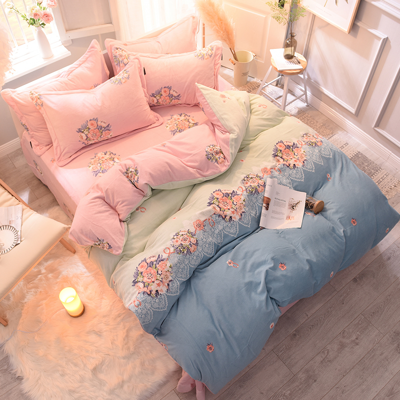 Pastoral style bedding set bed linen duvet cover kids adult Fleece fabric bed set home textile bedclothes bedspread for girls Pastoral style bedding set bed linen duvet cover kids adult Fleece fabric bed set home textile bedclothes bedspread for girls