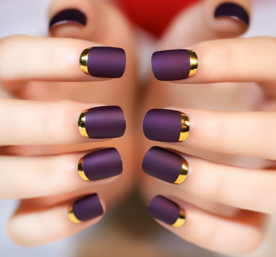 24pcsnatural Purple Nail Art Round End Oval False Nails Fake Tips French Manicure Artificial In Underwear From Mother Kids On Aliexpress