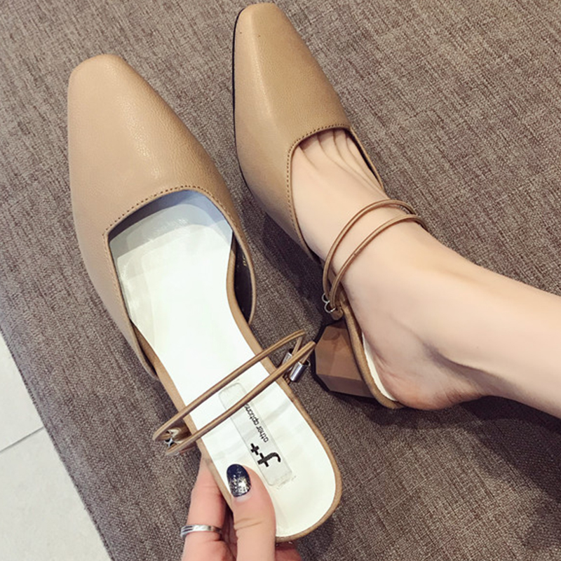 Moxxy Тапочки женские летние 2018 новые модные шлепанцы для улицы из натуральной кожи Повседневные шлепки черный каблук обувь дышащая