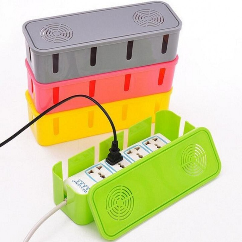 Power Strip Cord Socket Storage Boxes Organizer Cables