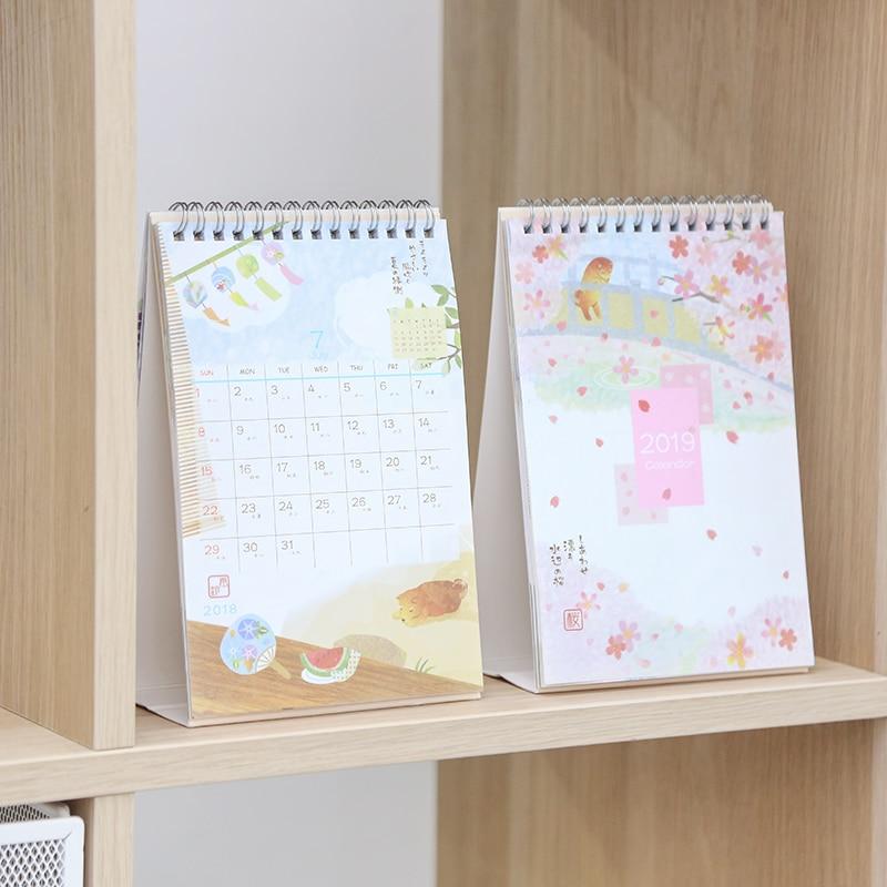 2019 Year Cute Landscape Creative Desk Standing Paper Multifunction Organizer Schedule Planner Notebook New Cartoon Calendar Calendars, Planners & Cards Office & School Supplies