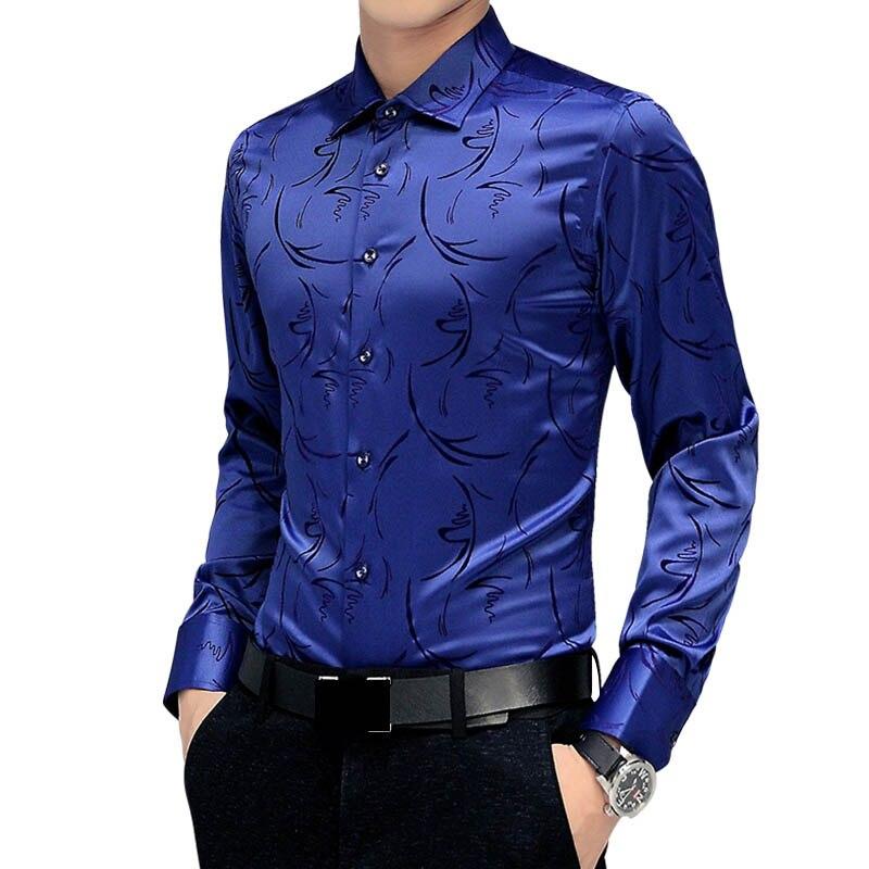 2018 Autumn New Shirt Men Slim Fit Korea Clothes Men Long Sleeve Party Club Designer Shirt Tuxedo Shirt Men 5XL Camisa