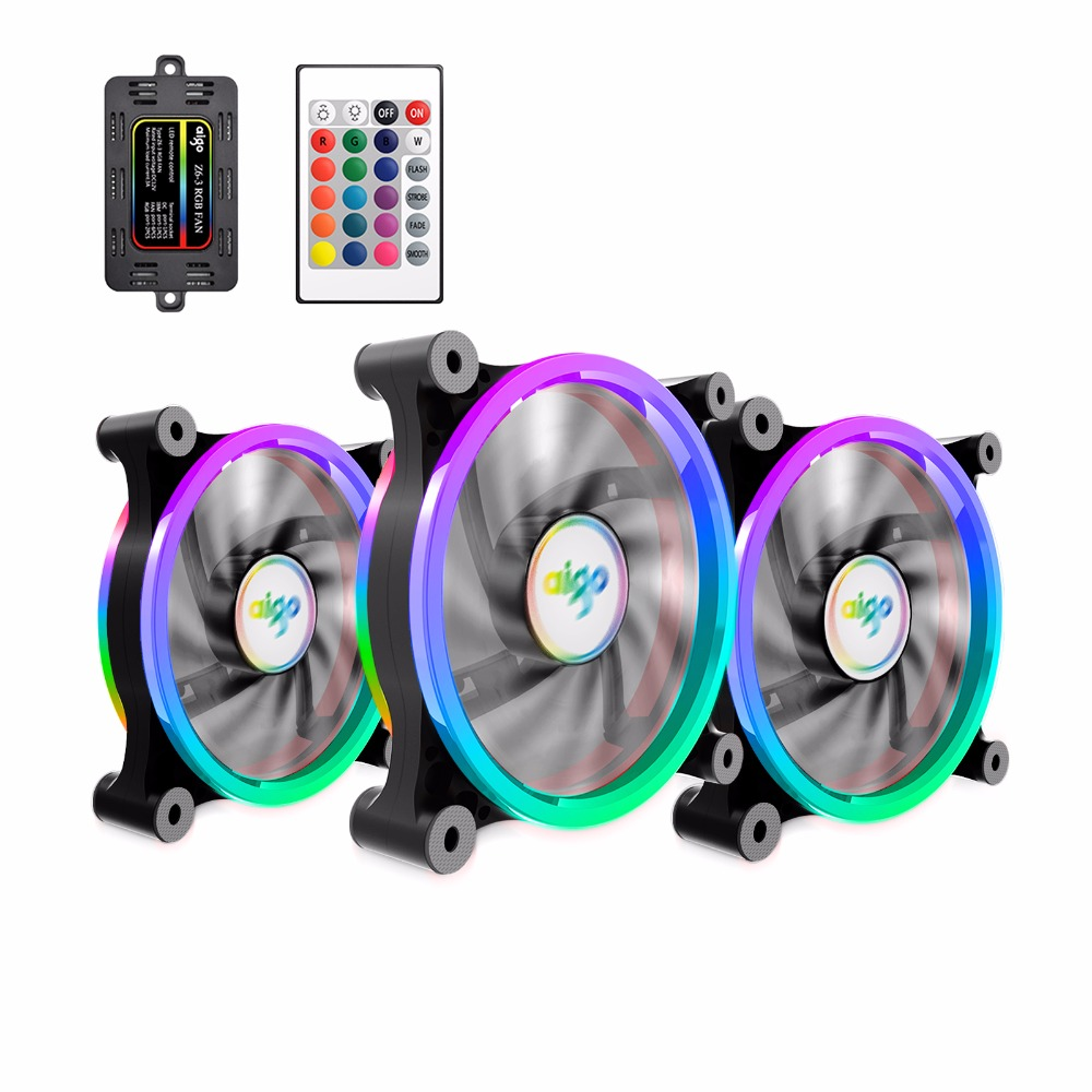 3 Pack Aigo Z6 RGB Adjust LED Computer Case PC Cooling Fan 120mm Quiet IR font