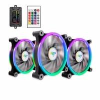 Aigo 3 Pack Computer Case PC Cooling Fan RGB Adjust LED 120mm Quiet IR Remote