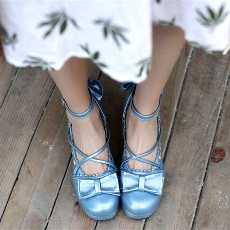Big Size 30-48 Women Pumps Japanese Princess Lolita Shoes Sweet Bow Cross Straps High Heels Mary Janes COSPLAY Female Shoes Gold (12)