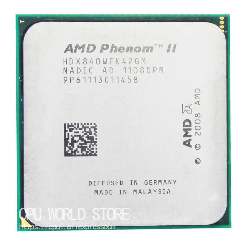 AMD Phenom II X4 840 Quad-Core CPU Processor 3.2Ghz/ 2M /95W Socket AM3 AM2+ 938 Pin