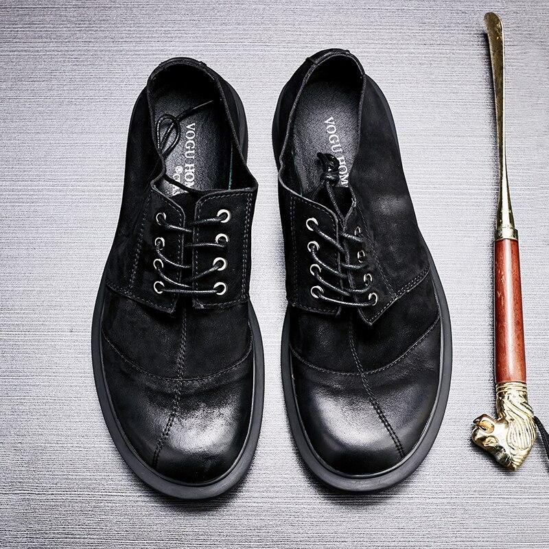 De Loafer Casuais Retro Cabeça Negócios Macio Primavera Homens Preto Sapatos Couro Moído Redonda Dos Confortáveis BnwOXHx