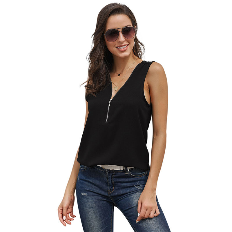 SEBOWEL Sleeveless Deep V Shirts Tank Tops Woman Summer Plus Size Female Black Green Zip Vest Lady Casual Tank Top Size S XXL in Tank Tops from Women 39 s Clothing