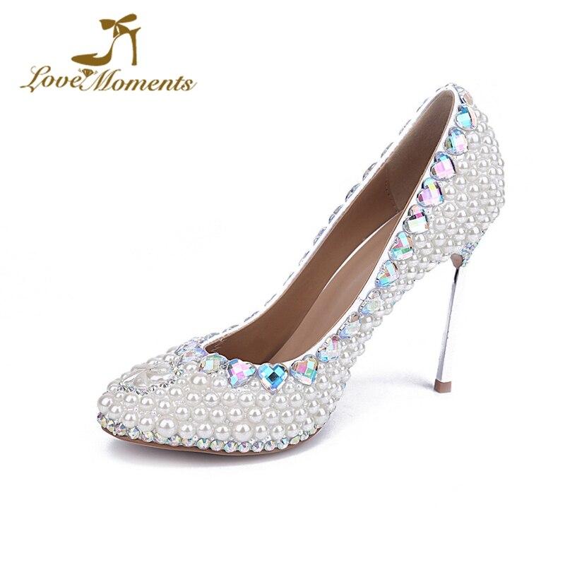 e2cc9276790 Cheap Diseño de Moda blanco perla boda zapatos de novia punta redonda de tacón  alto Zapatos
