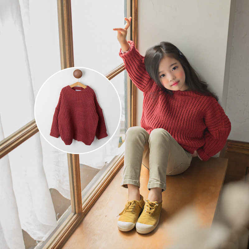 2018 Autumn Girls Sweater Kids Tops Baby Cute Sweaters Children Lo