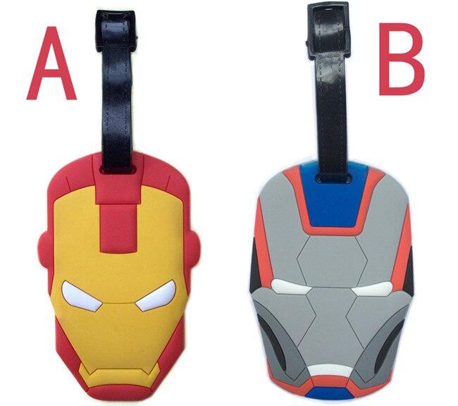2 pcs/set Iron Man luggage tag Movie super hero Ironman PVC pendants fashion suitcase decoration free shipping