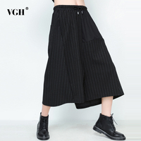 VGH Striped Patchwork Trousers For Women Elastic High Waist Slim Bandage Large Big Size Low Crotch