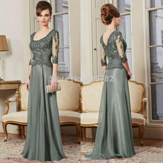 2017 Mãe Da Noiva Vestidos A Linha de Colher Mangas Meia Chiffon Apliques Mãe Vestidos Vestidos de Noite Para Casamentos