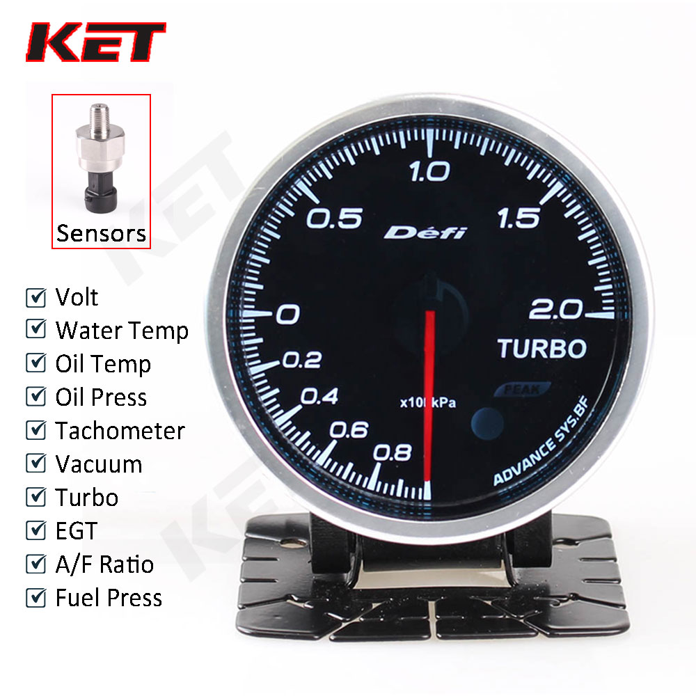 Auto Gauge Defi Advance Bf 60mm 7Colors Turbo Boost/Water temp/Oil Press/Air Fuel Ratio/EXT Temp With Electronic Sensors прибор для авто defi ext temp 2 5 60 defi cr ext egt defi cr