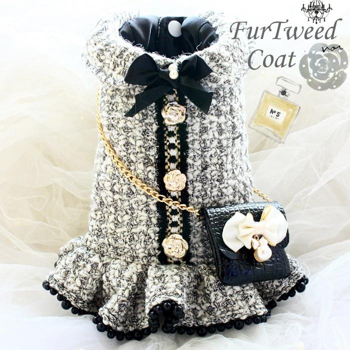 Free shipping handmade dog clothes vintage C style gray tweed imitation crocodile leather bag dog dresses