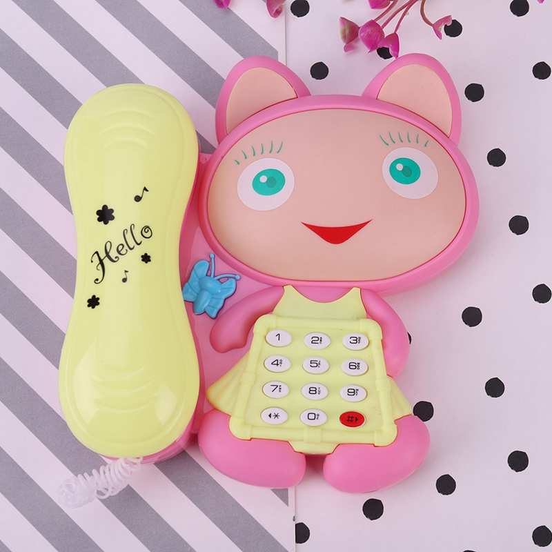 1pc Cartoon Cat Stories With LED Light Baby  Machines Children Phone Musical Toys Color Random