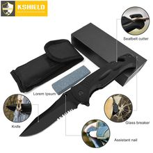 KSHIELD Folding Knife Outdoor Camping Military Survival Hunting Handmade Knives Multitool G10 Multifunction With Whetstone