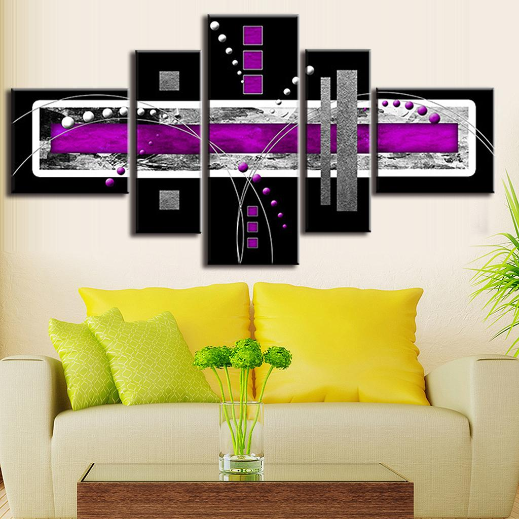 5 Pcs/Set Abstract Oil Painting Purple Black Grey Canvas Wall Art ...