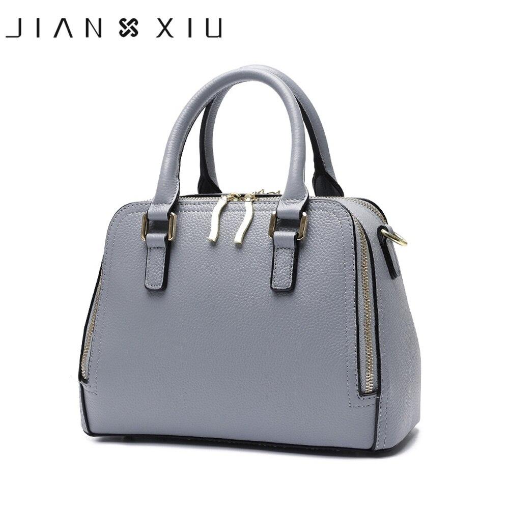 JIANXIU ยี่ห้อผู้หญิงแยกหนังกระเป๋าถือหญิงด้านบน   กระเป๋ากระเป๋า Double Zipper Crossbody กระเป๋า 2018 ขนาดเล็กกระเป๋า-ใน กระเป๋าสะพายไหล่ จาก สัมภาระและกระเป๋า บน   1