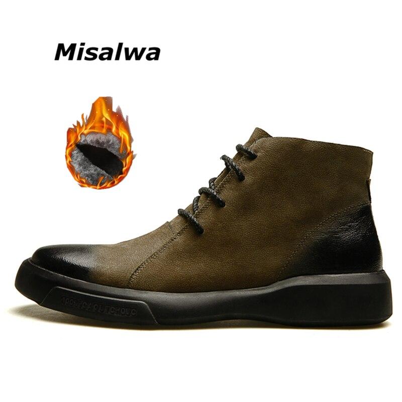 Misalwa Autumn Winter Fur Warm Chelsea Boots Men Low Ankle Leather Unique Boots Khaki Gradual Trend Color Fashion Cool Boots new fashion boots autumn cool