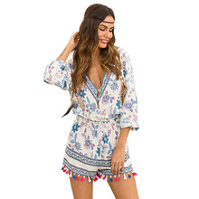 Summer coveralls women Sexy bodysuit  Playsuit V -neck tassels flower print decorate  short-sleeve Chiffon ladies Playsuit