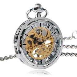 Винтажные карманные часы с цепочкой с открытым лицом дизайн Механические карманные часы Изысканный Карманный кулон часы Подарки для мужчи...
