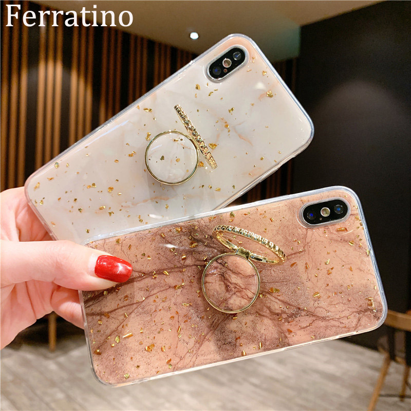 Finger Ring Stand Phone Case For IPhone XR Case Gold Foil Silicon Soft Cover For IPhone X XS Max 7 Plus 8 6 6S Holder Case Coque