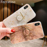 Finger Ring Stand Phone Case For iPhone XR Case Gold Foil Silicon Cover For iPhone X XS Max 7 Plus 8 6 6S 11 Pro Max Holder Case