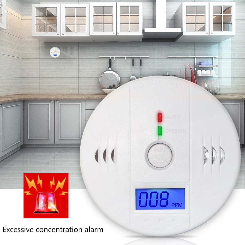 Home Security 85dB CO Gas Sensor Carbon Monoxide Poisoning Alarm Detector LCD Photoelectric Independent Warning High Sensitive