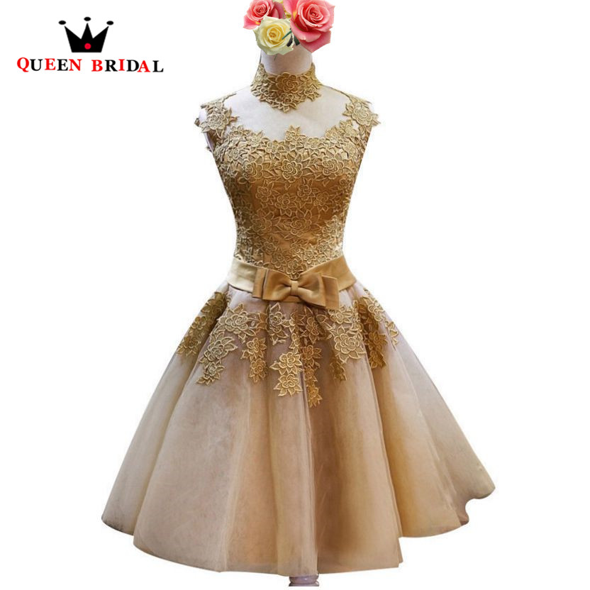 A line High Neck Lace Tulle Short Golded Evening Gowns Evening Dresses Party Dresses vestidos de