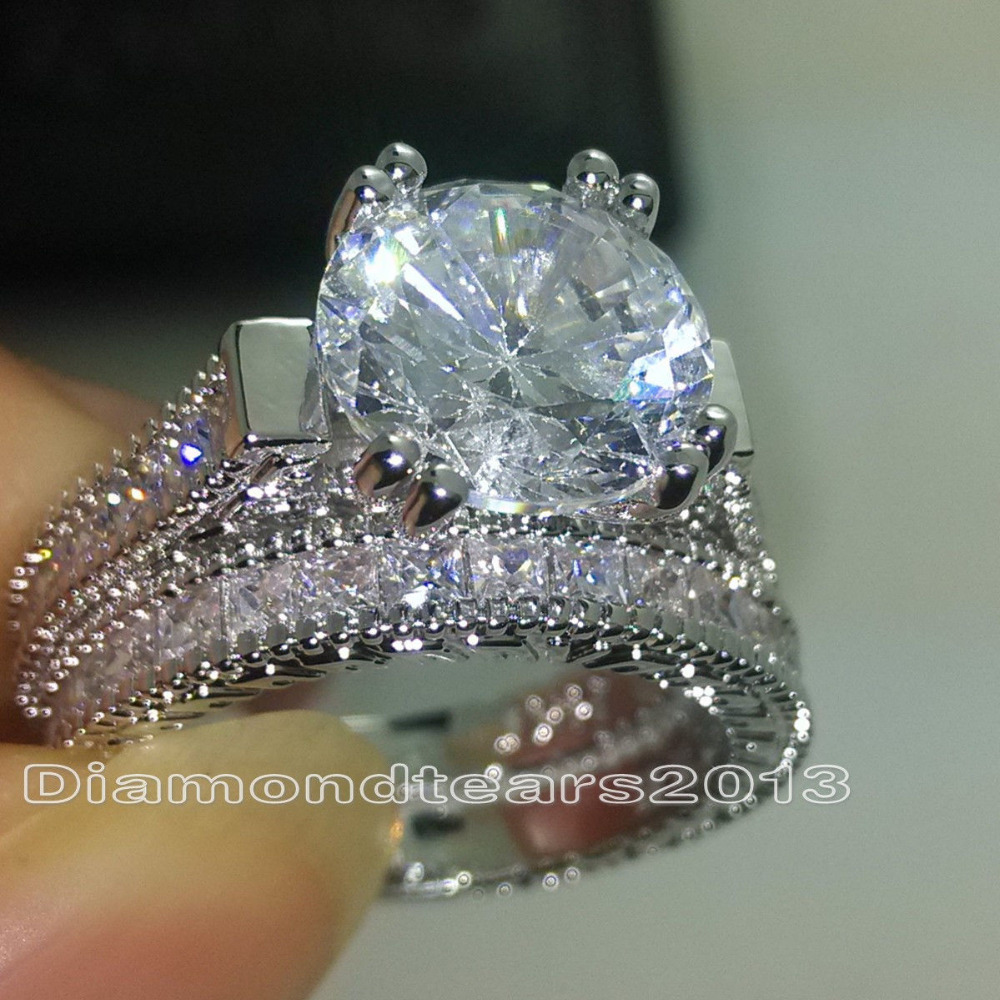 Size 5-10 choucong Vintage Jewelry Fashion 14KT White Gold Filled Round Cut 5A Cubic Zirconia Classic Women Bridal Ring Set GiftSize 5-10 choucong Vintage Jewelry Fashion 14KT White Gold Filled Round Cut 5A Cubic Zirconia Classic Women Bridal Ring Set Gift