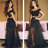 Two Piece Prom Dress Off The Shoulder V neck Illusion Black Lace Appliqeued Prom Dresses Cusom Made