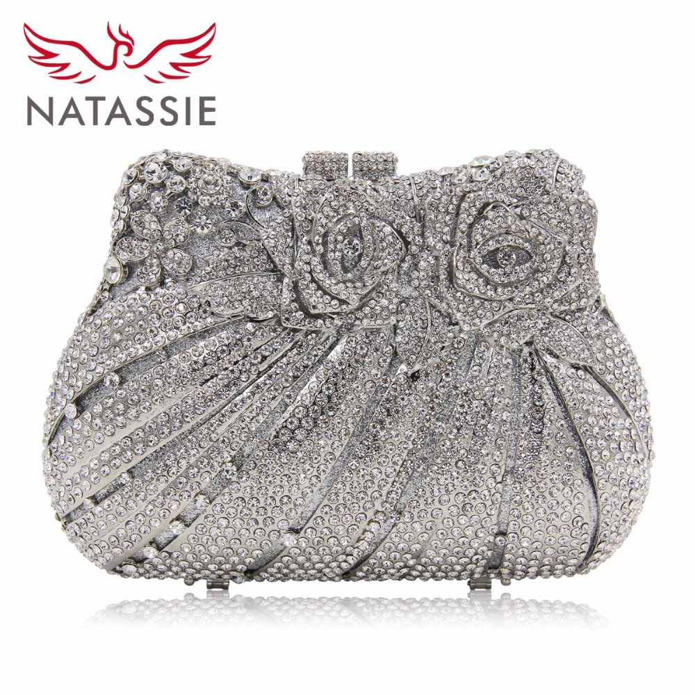 NATASSIE Women Crystal Evening Clutch Bags Rose Flower Purse Party Bag Female Wedding Clutches natassie women crystal clutches bags ladies evening bag female red purple party clutch wedding purse