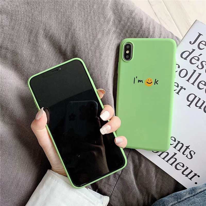 Cute Mint Green With Smile Pattern Solid Color Cover Cases For Huawei P30 P20 P10 Mate 20 10 Pro Lite Nova 3 3i 4 Soft TPU Capa in Fitted Cases from Cellphones Telecommunications